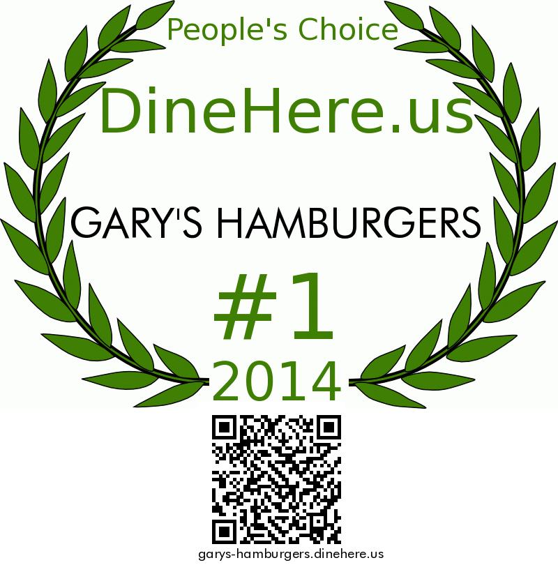 GARY'S HAMBURGERS DineHere.us 2014 Award Winner