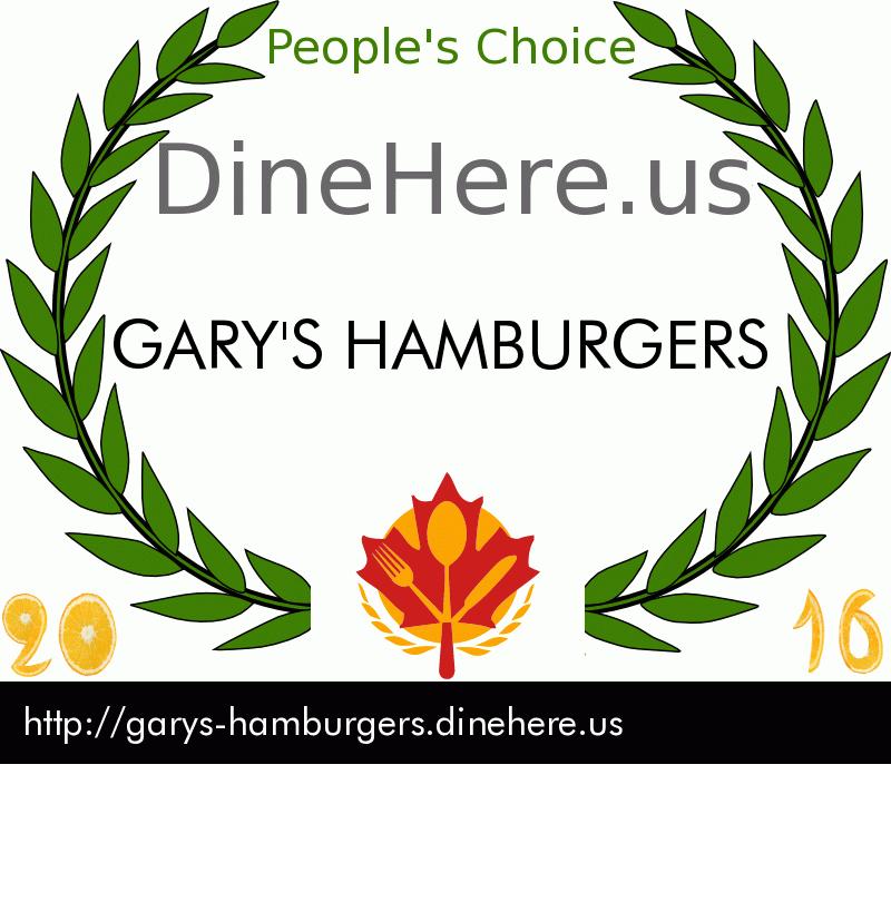 GARY'S HAMBURGERS DineHere.us 2016 Award Winner